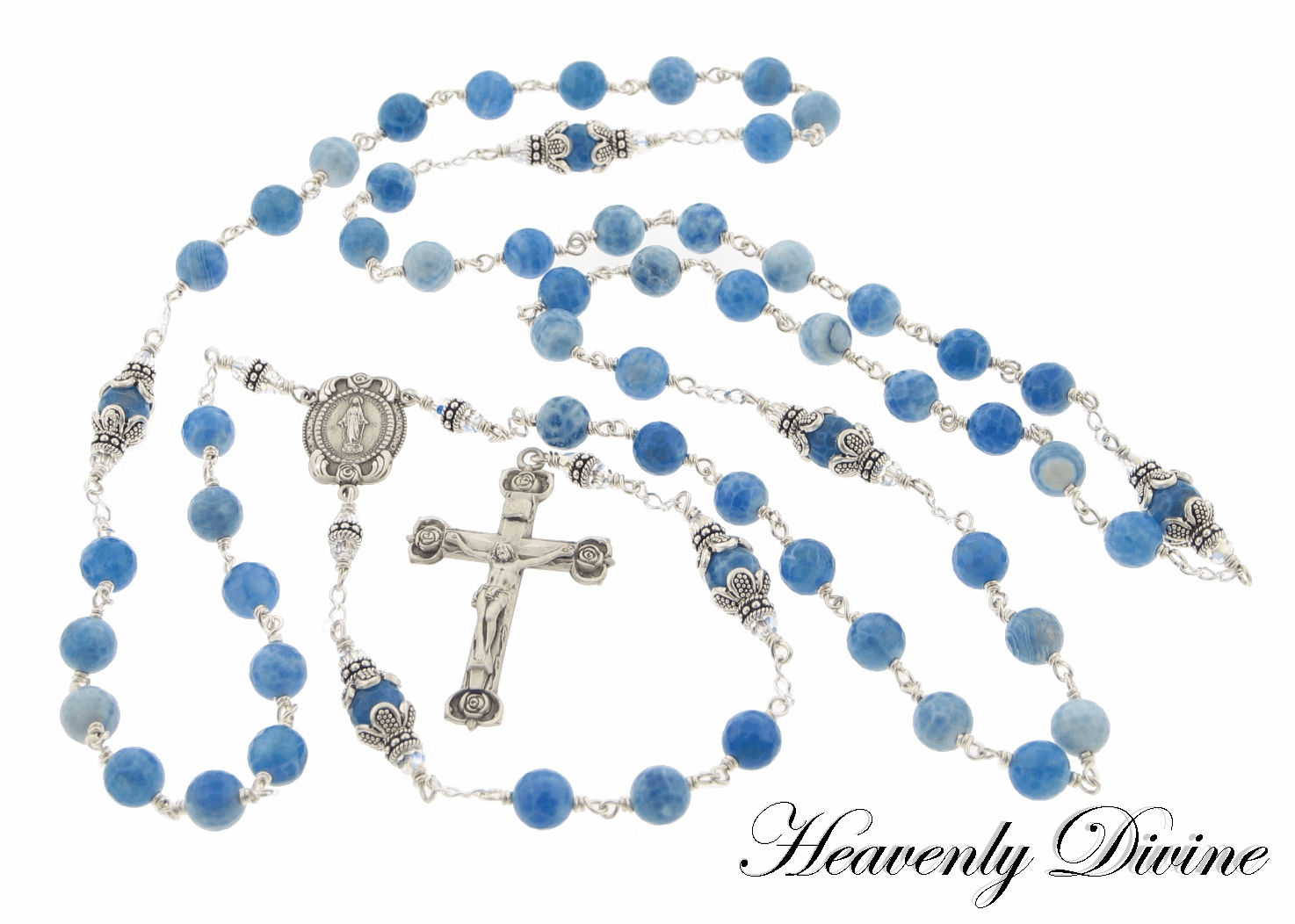Handmade Blue Fire Agate Wire Wrapped Sterling Silver Rosary by Heavenly Divine