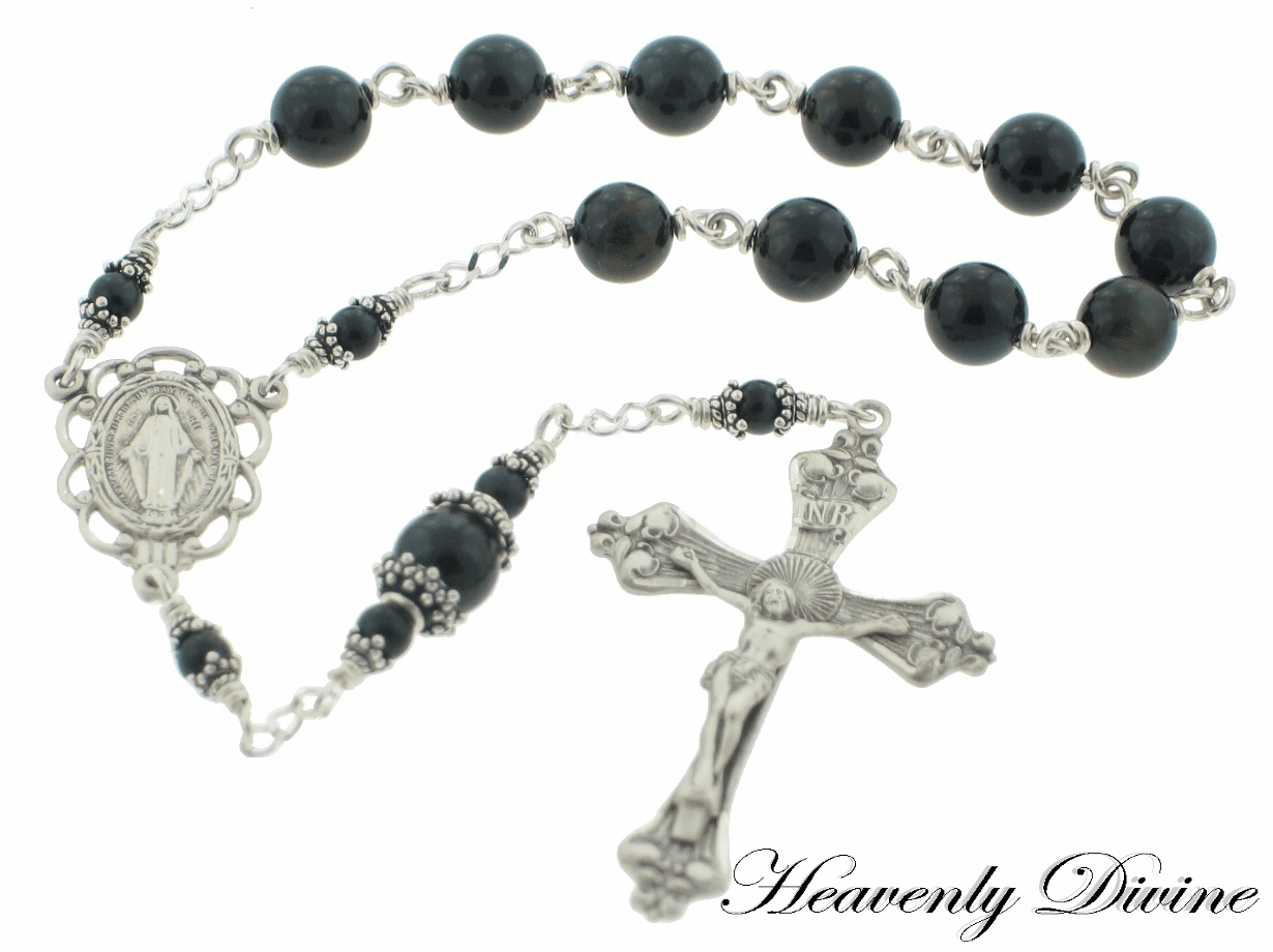 Handmade Blue Tigereye Sterling Silver One Decade Rosary by Heavenly Divine