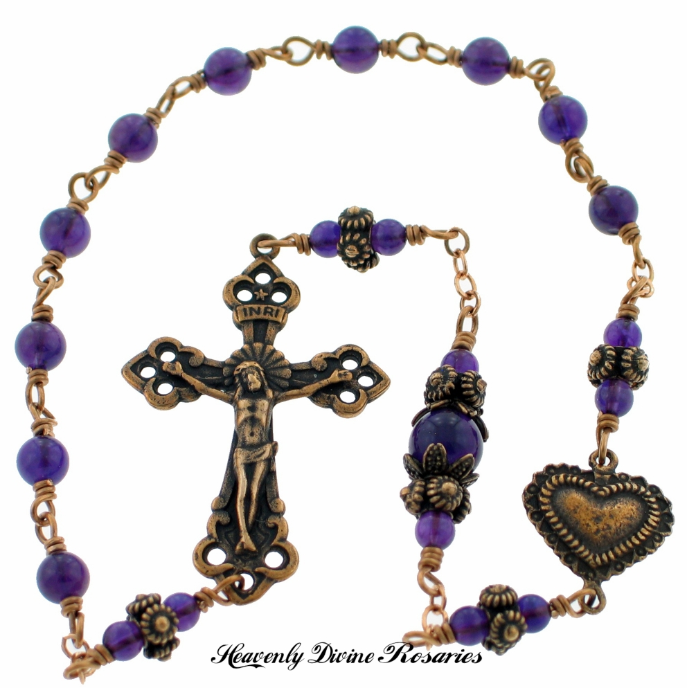 Handmade Bronze Amethyst Heart Decade Pocket Rosary