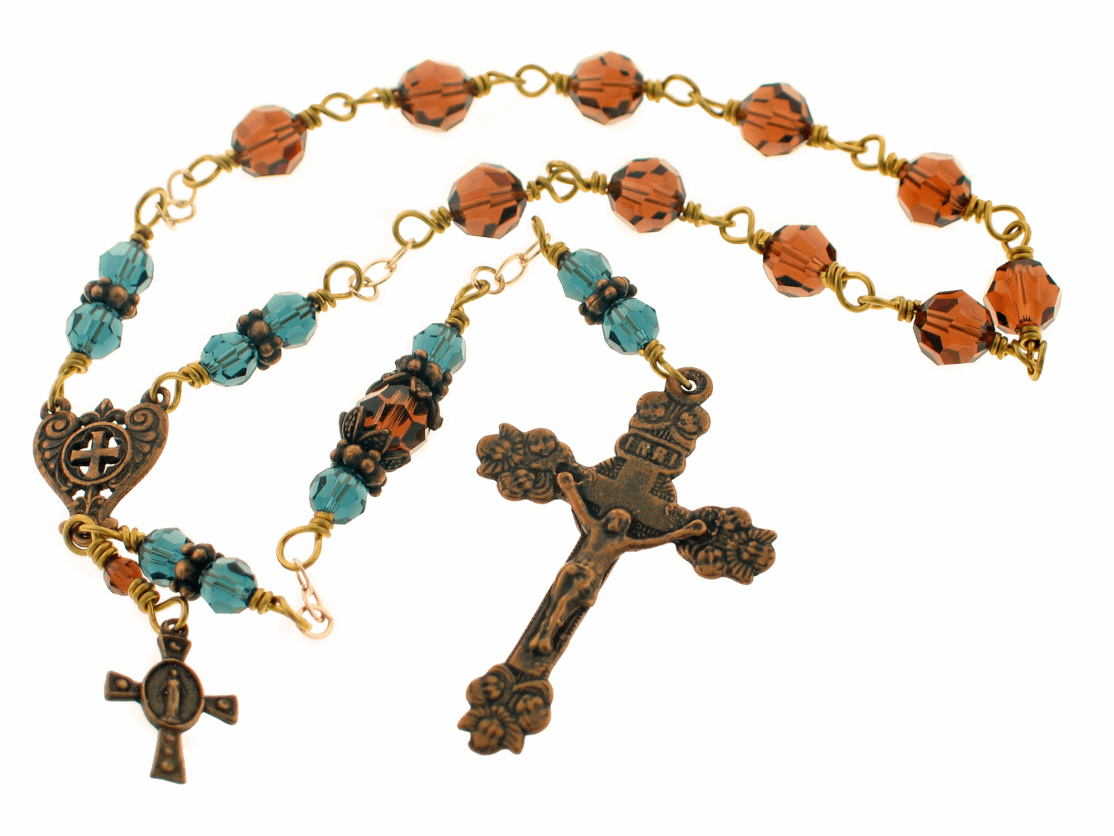 Handmade Bronze Angel Swarovski Crystal Decade Pocket Rosary