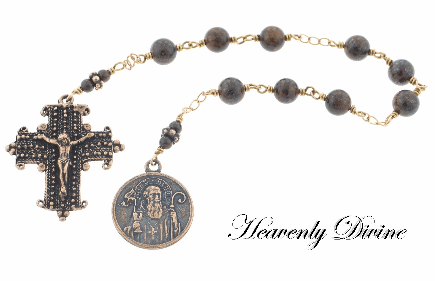 Handmade Bronze Wire Wrapped Gemstone St Benedict Prayer Chaplet by Heavenly Divine
