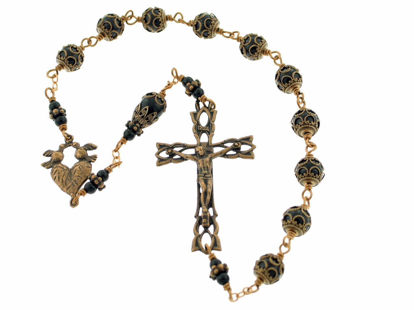 Handmade Bronze Wire-Wrapped Heart w/Doves Kant-Tangle Rosary