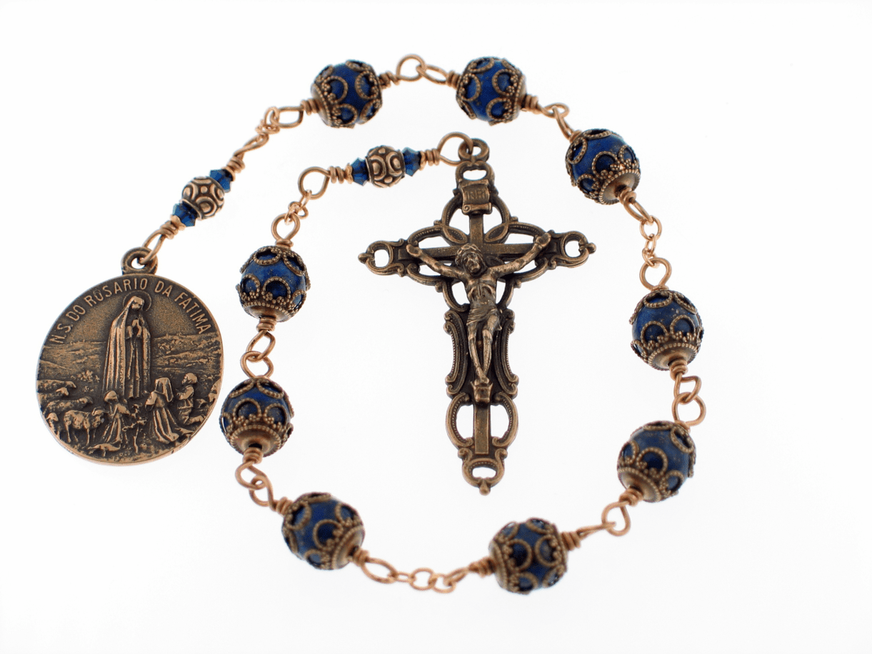 Handmade Bronze Wire-Wrapped Our Lady of Fatima Blue Lapis Nine Bead Chaplet