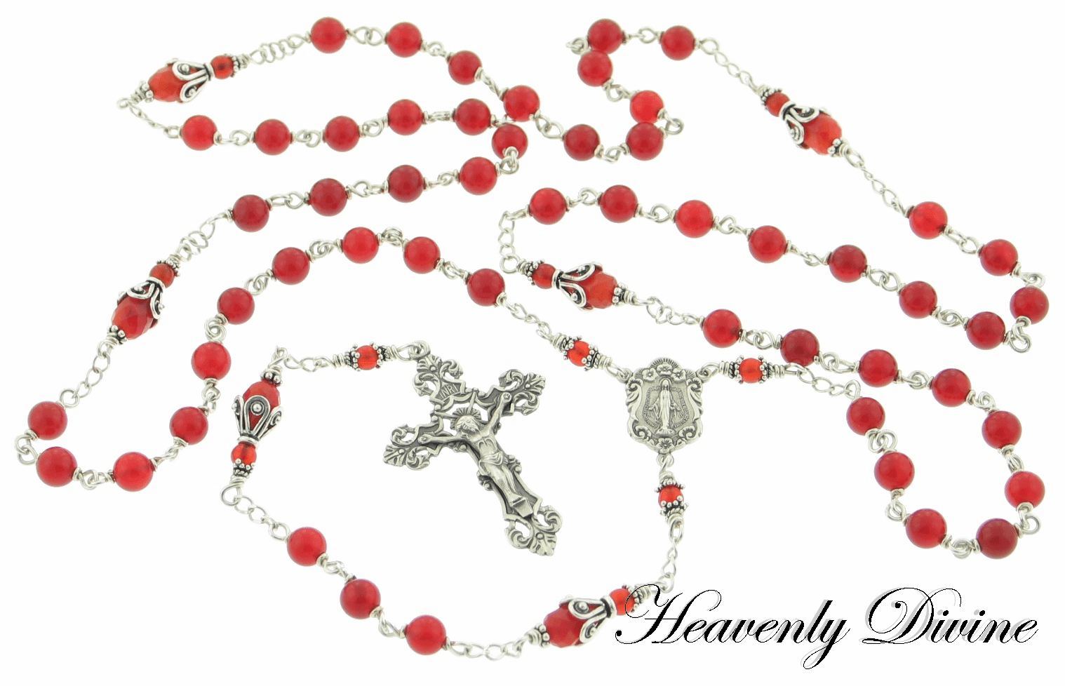 <b> Handmade Carnelian & Sterling Silver Wire Wrapped Rosary </b>