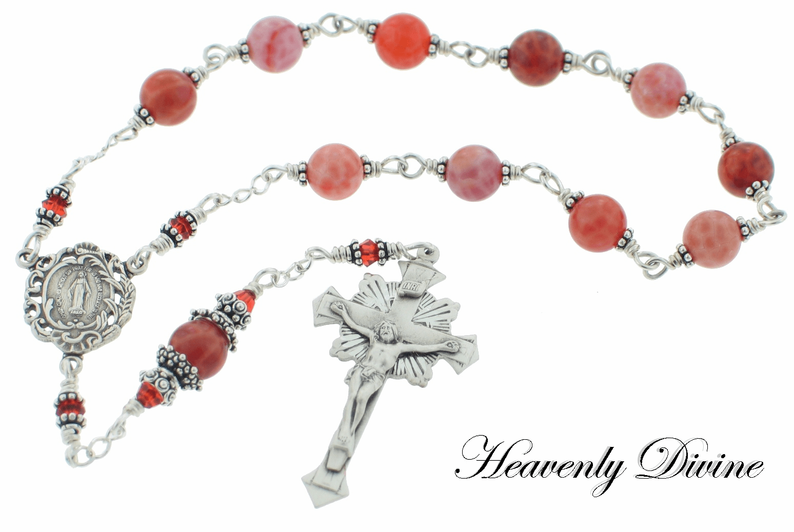 Handmade Fire Agate One-Decade Wire-Wrapped Rosary by Heavenly Divine