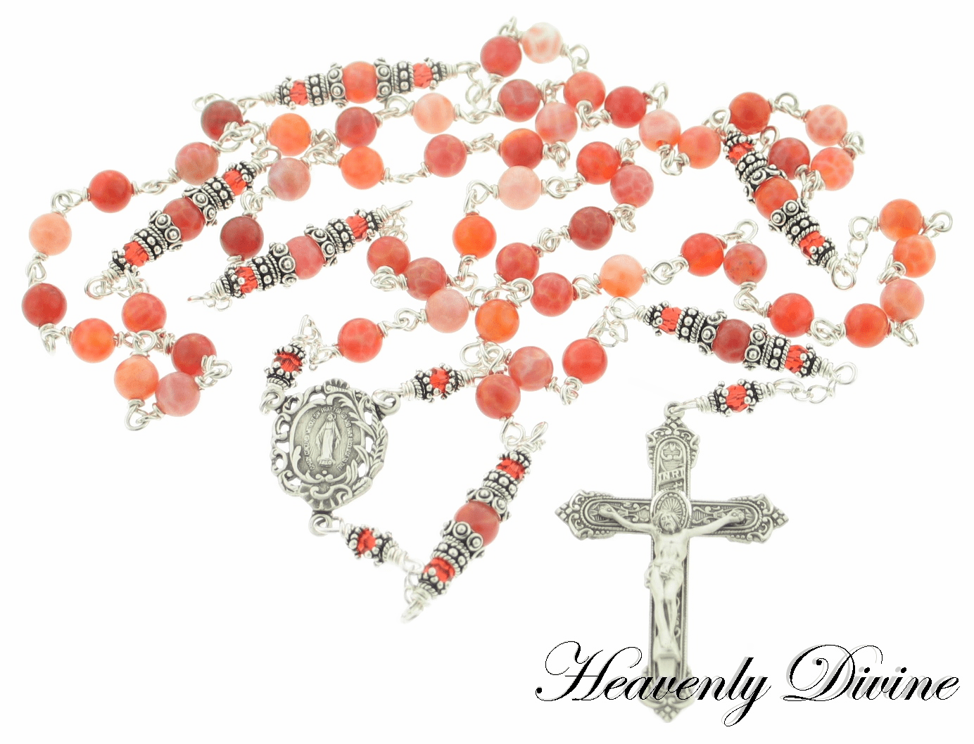 Handmade Fire Agate & Sterling Silver Wire Wrapped Rosary by Heavenly Divine