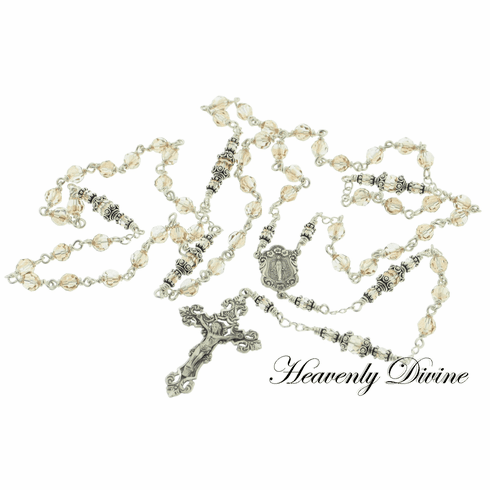 Handmade Gold Shadow Swarovski Crystal Sterling Silver Wire Wrapped Rosary