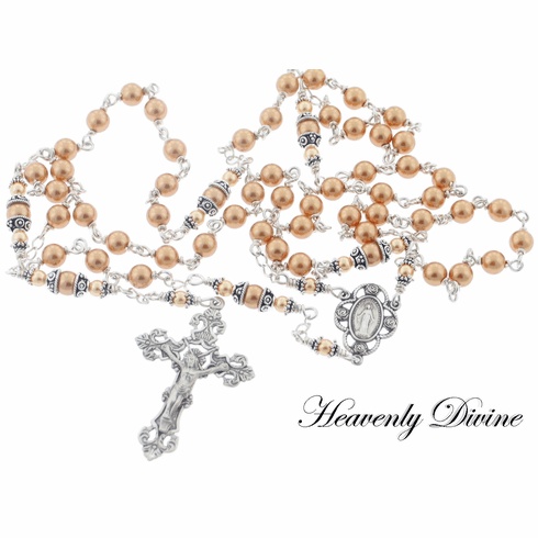 Handmade Gold Swarovski Crystal Pearl Sterling Silver Wire Wrapped Rosary