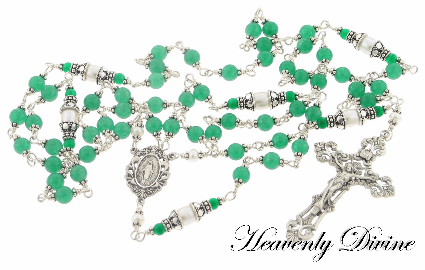 Handmade Green Jade & Freshwater Pearl Wire Wrapped Rosary by Heavenly Divine
