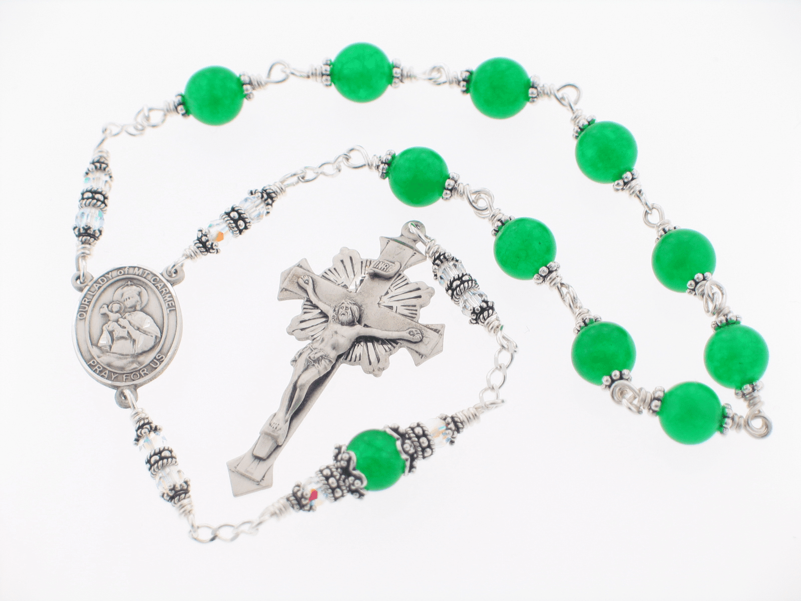 Handmade Green Jade Sterling Silver Our Lady of Mount Carmel Pocket Rosary by Heavenly Divine