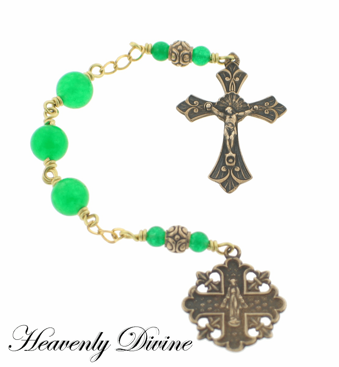 Handmade Green Jade Three Hail Mary Chaplet by Heavenly Divine