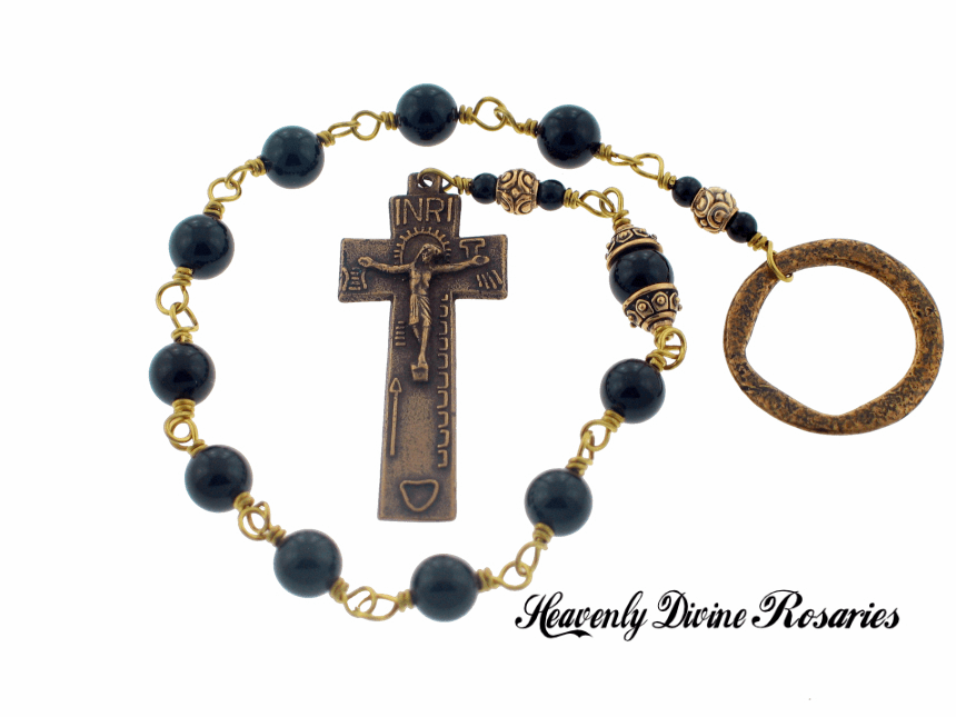 Handmade Heavenly Divine Onyx Irish Penal Wire-Wrapped One Decade Rosary