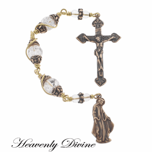 Handmade Ice Flake Quartz Three Hail Mary Devotion Chaplet by Heavenly Divine