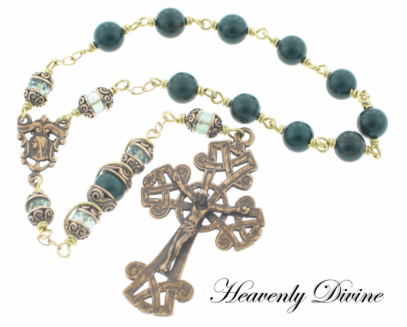 Handmade Irish Celtic Wire Wrapped One Decade Rosary by Heavenly Divine