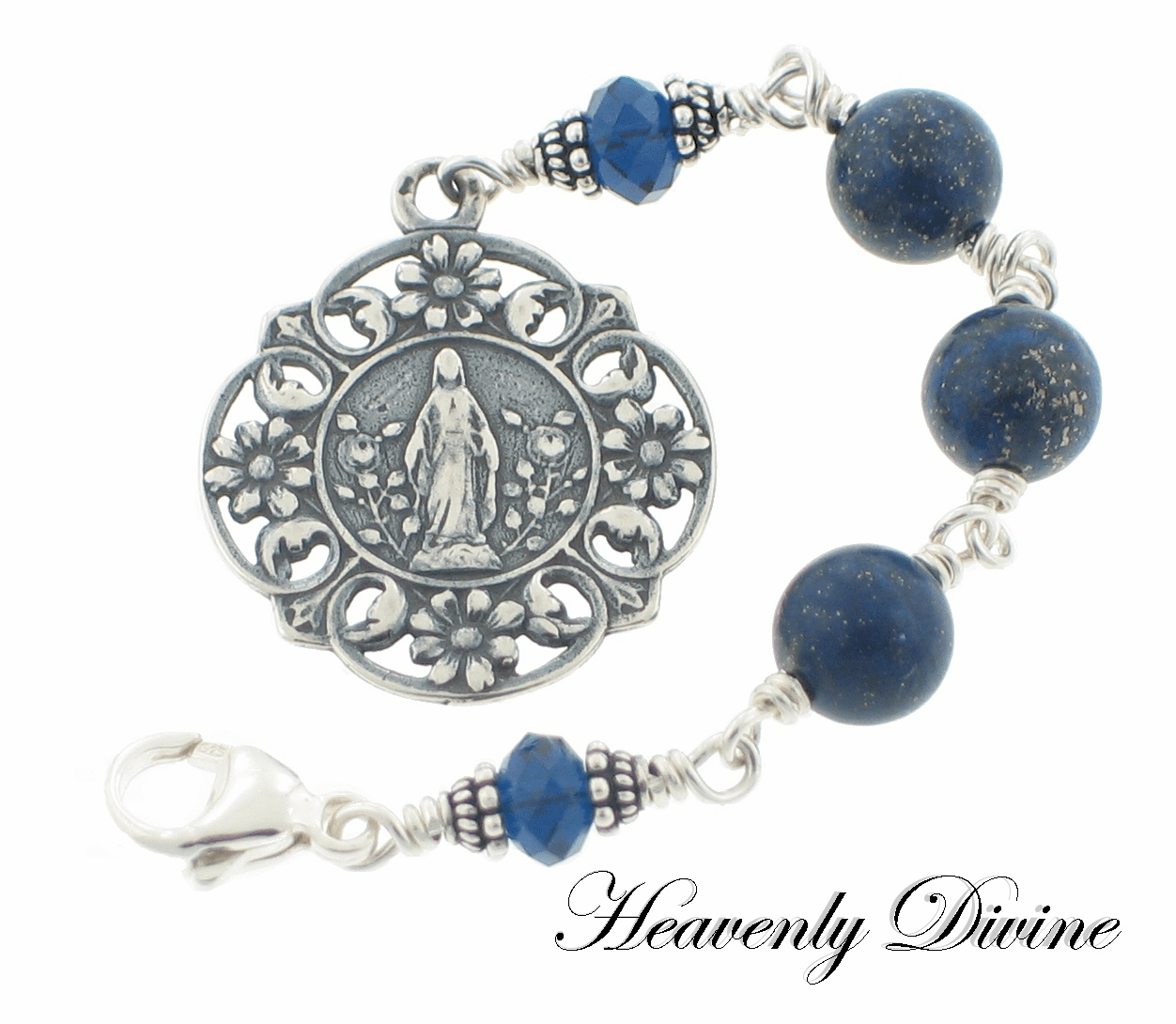Handmade Lapis Sterling Silver Three Hail Mary Devotional Chaplet by Heavenly Divine