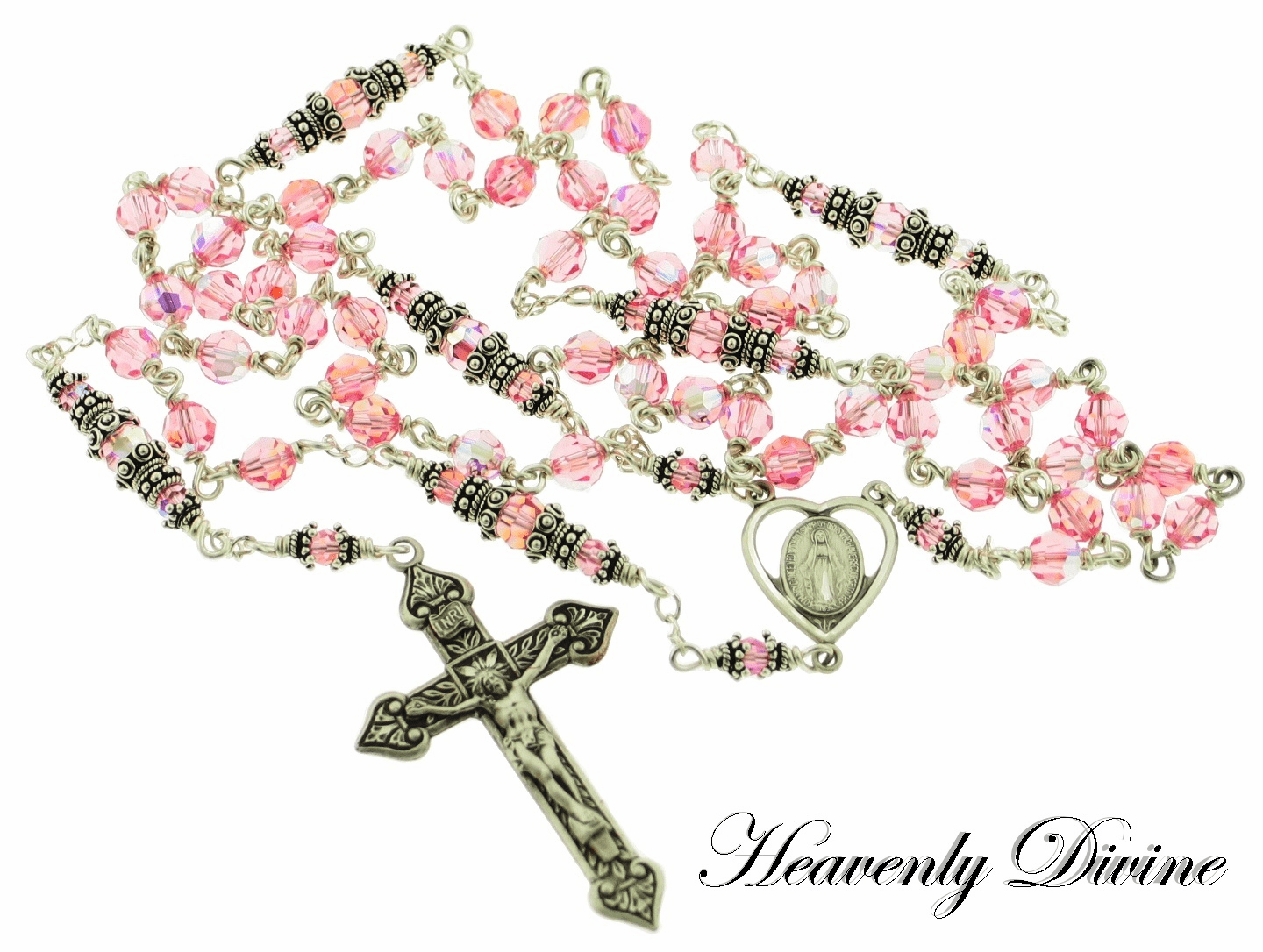 Handmade Heart Lt Rose Swarovski Crystal Sterling Rosary by Heavenly Divine