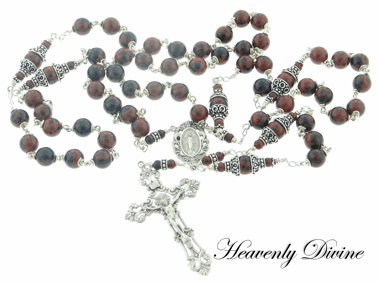 Handmade Mahogany Obsidian Sterling Silver Wire Wrapped Rosary by Heavenly Divine