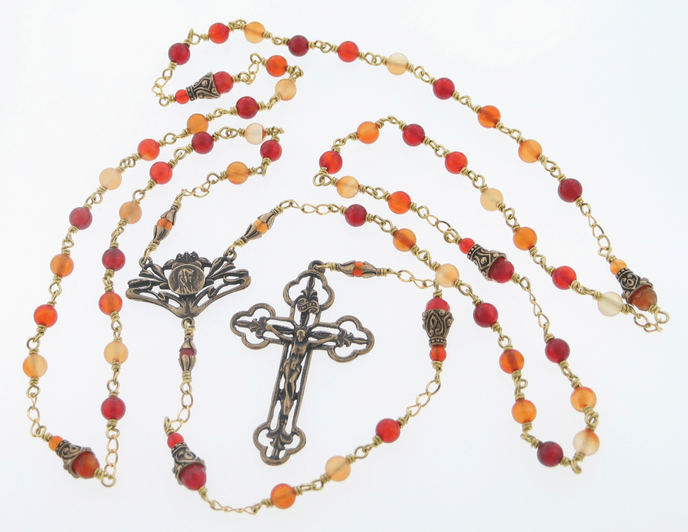 Handmade Mary with Lilies Red Agate Bronze Wire Wrapped Rosary by Heavenly Divine