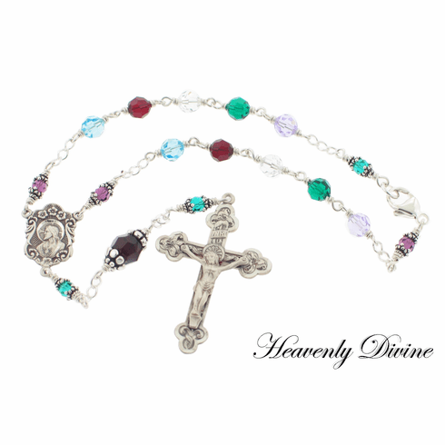 Handmade Mother's Birthstone Auto Rosary by Heavenly Divine