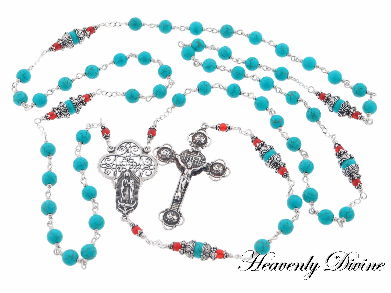 Handmade Our Lady of Guadalupe Sterling Silver Wire-Wrapped Rosary by Heavenly Divine