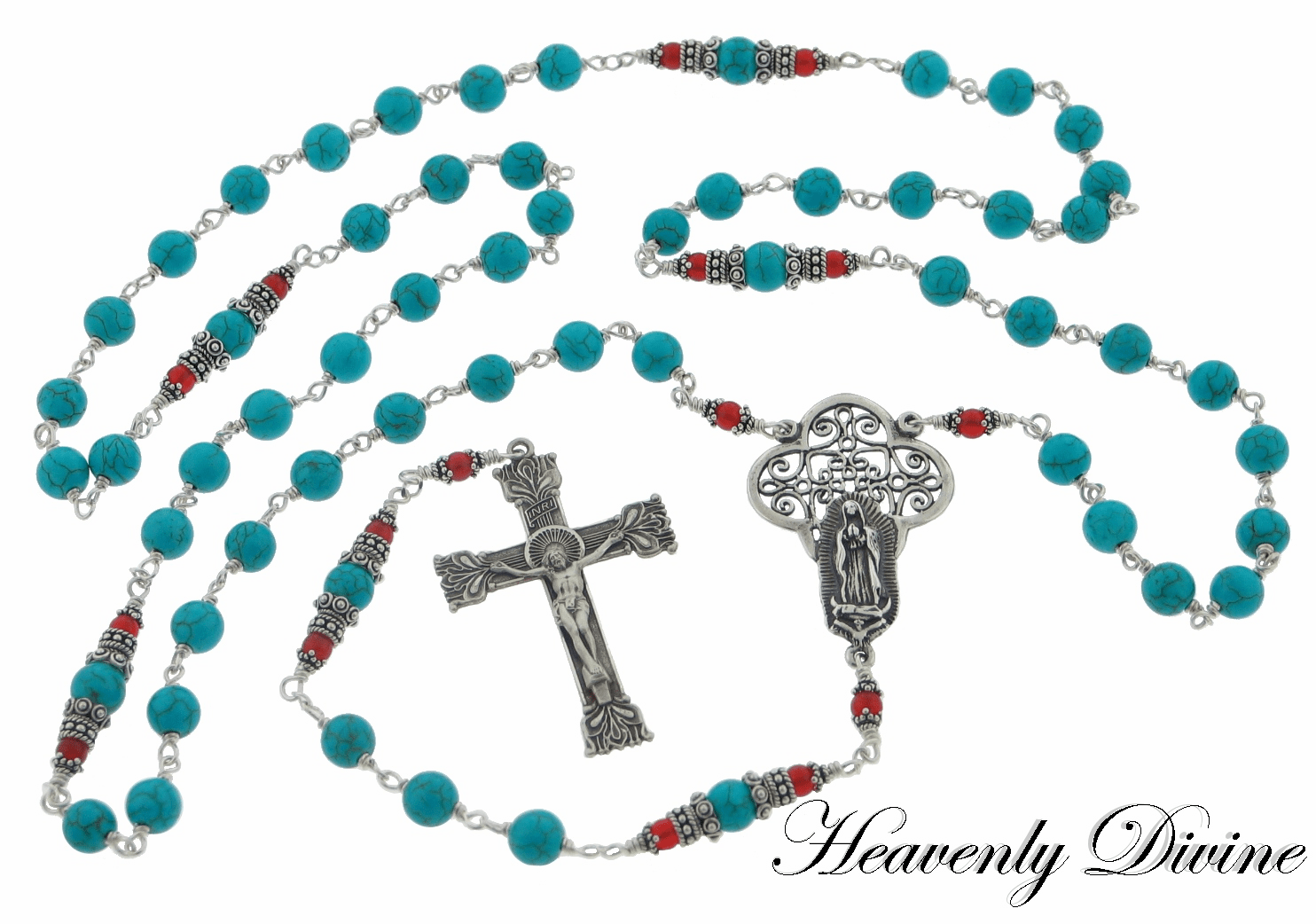 Handmade Our Lady of Guadalupe Turquoise & Carnelian Sterling Silver Wire-Wrapped Rosary by Heavenly Divine