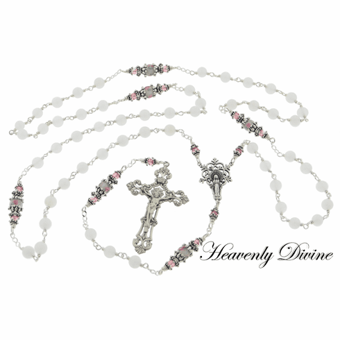 Handmade Our Lady of the Snow Sterling Silver Wire-Wrapped Rosary by Heavenly Divine