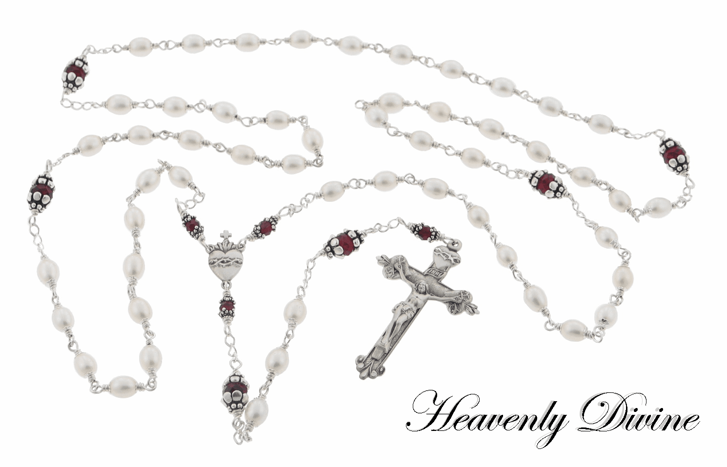Handmade Pearl & Swarovski Crystal Sacred Heart Rosary by Heavenly Divine