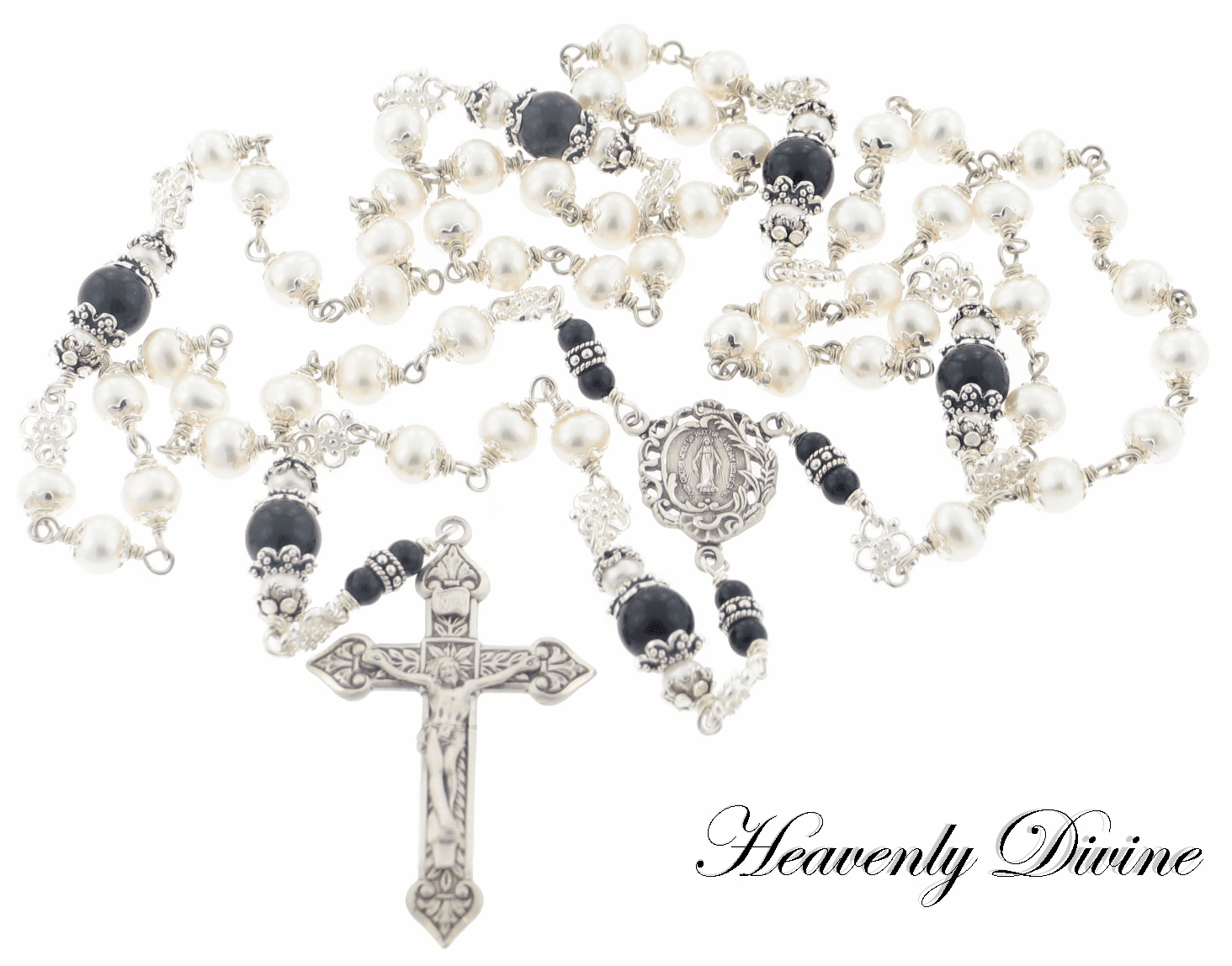 Handmade Pearls & Black Onyx Wire Wrapped Rosary by Heavenly Divine