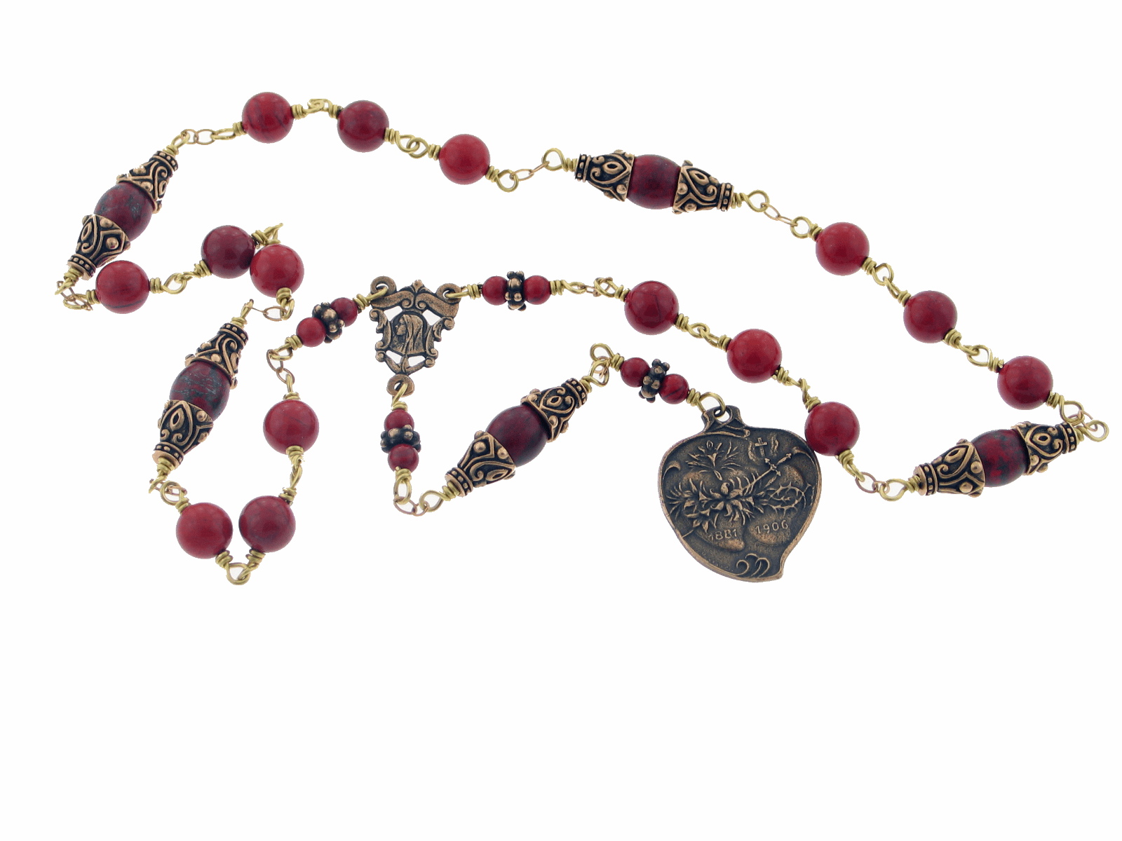 Handmade Red & Brecciated Jasper Wire Wrapped Chaplet of the Two Hearts by Heavenly Divine