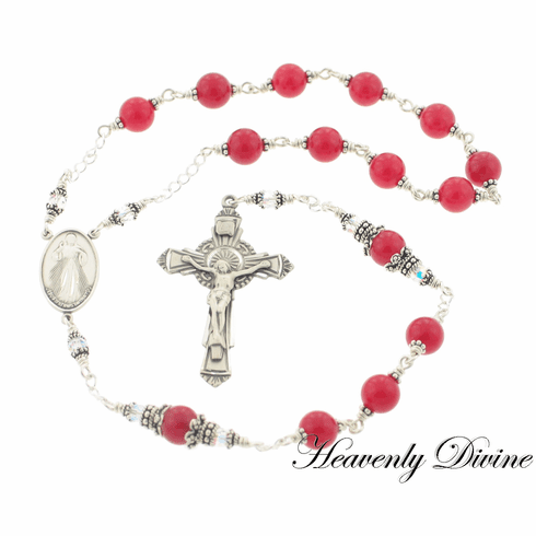 Handmade Red Jade Wire Wrapped Divine Mercy Rosary by Heavenly Divine