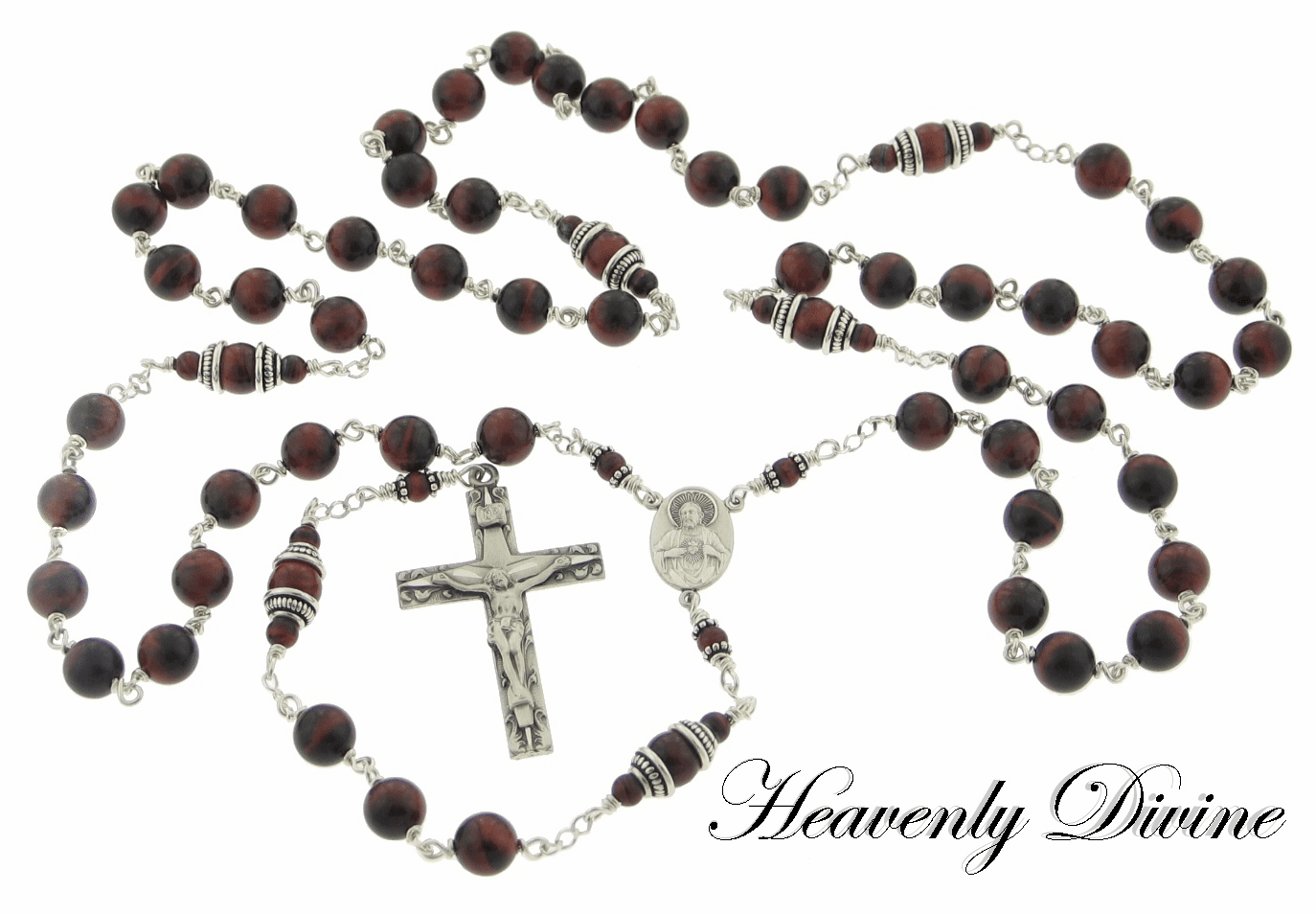 Handmade Red Tiger Eye Sterling Silver Sacred Heart of Jesus Rosary by Heavenly Divine
