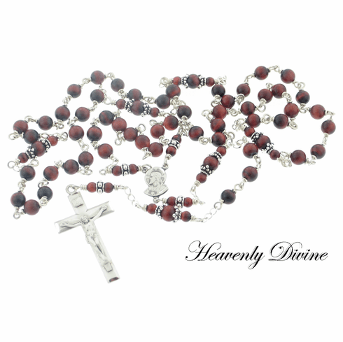 Handmade Red Tigereye & Sterling Sacred Heart of Jesus Wire Wrapped Rosary by Heavenly Divine