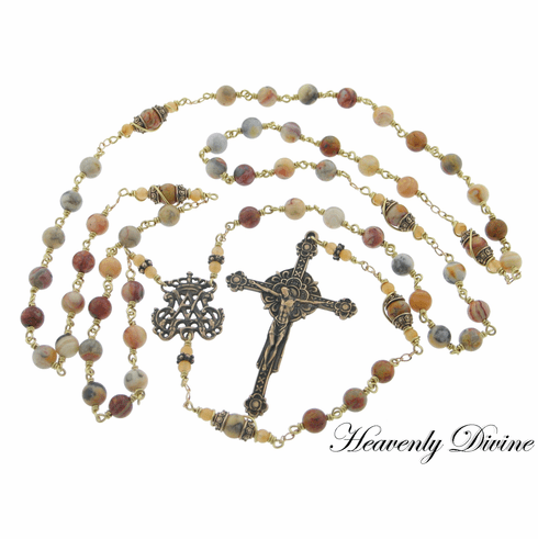 Handmade Renaissance Agate Wire Wrapped Bronze Rosary by Heavenly Divine