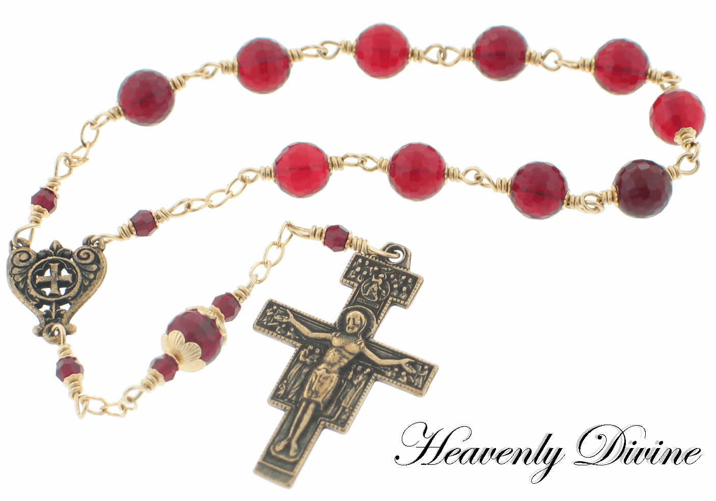 Handmade San Damiano One Decade Wire Wrapped Rosary by Heavenly Divine