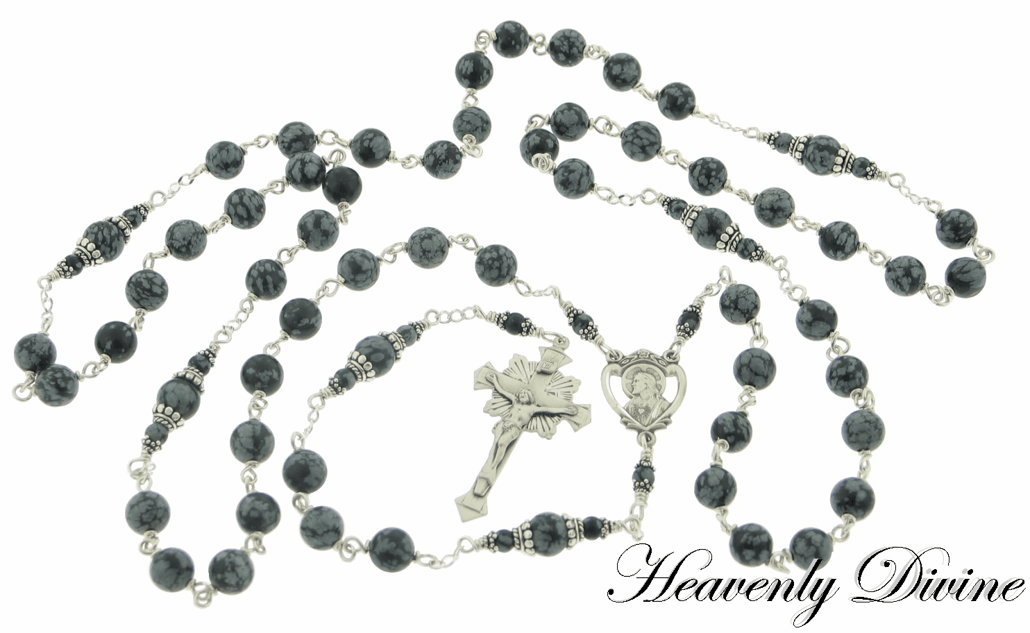 Handmade Snowflake Obsidian Sterling Silver Wire-Wrapped Rosary by Heavenly Divine