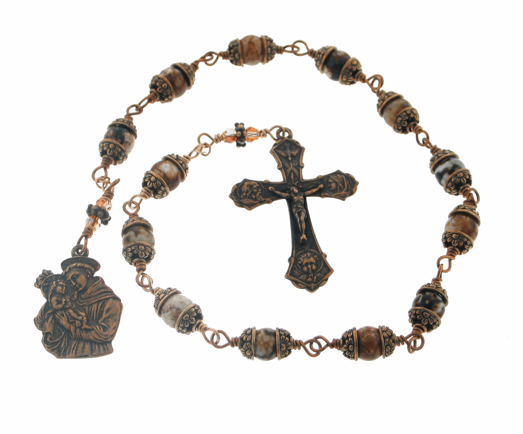 Handmade St Anthony 13 Bead Bronze Chaplet by Heavenly Divine Rosaries