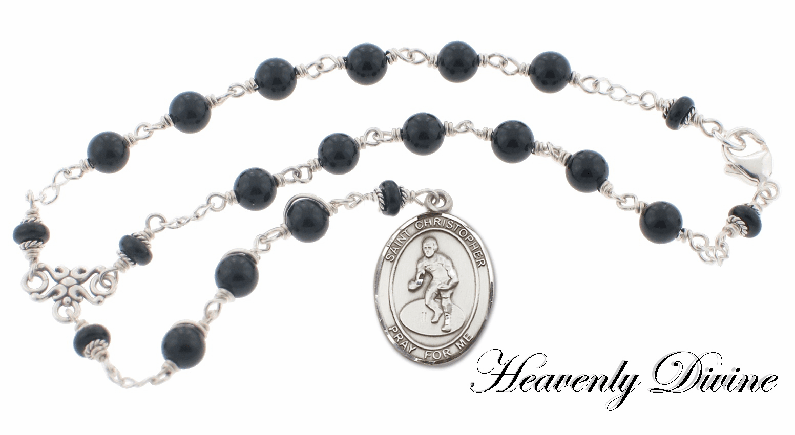 Handmade St. Christopher Black Onyx Wrestling Auto Chaplet by Heavenly Divine