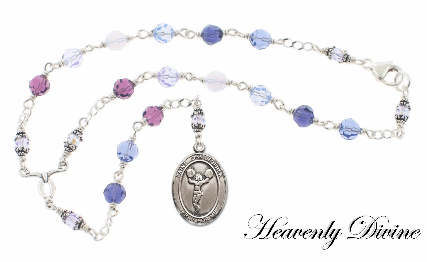 Handmade St. Christopher Sterling Silver Swarovski Crystal Auto Chaplet by Heavenly Divine