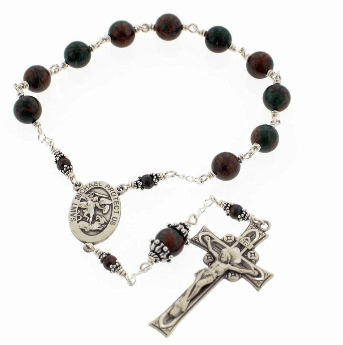 Handmade St Michael Military Pocket Rosary by Heavenly Divine