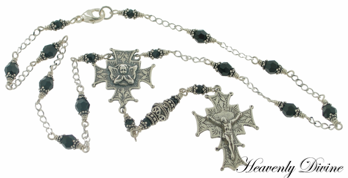 Handmade Sterling Silver Angel Rosary Necklace by Heavenly Divine