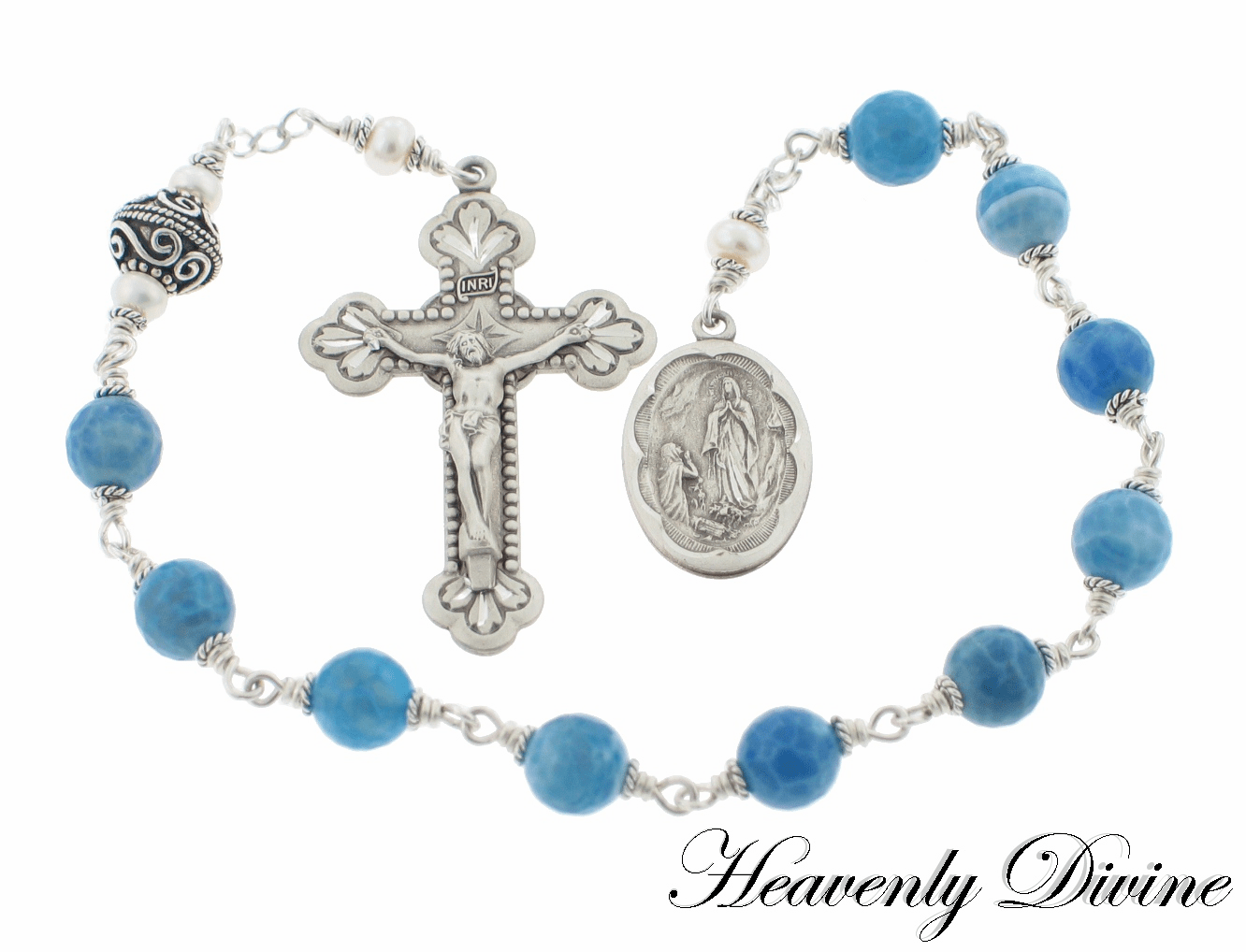 Handmade Sterling Silver Our Lady of Lourdes One Decade Rosary by Heavenly Divine
