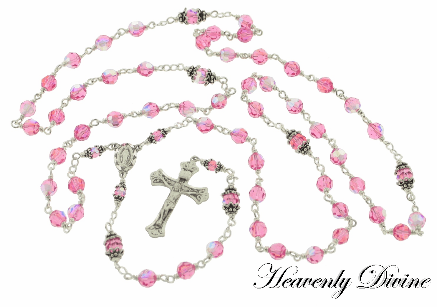 Handmade Sterling Rose Swarovski Birthstone Rosary by Heavenly Divine