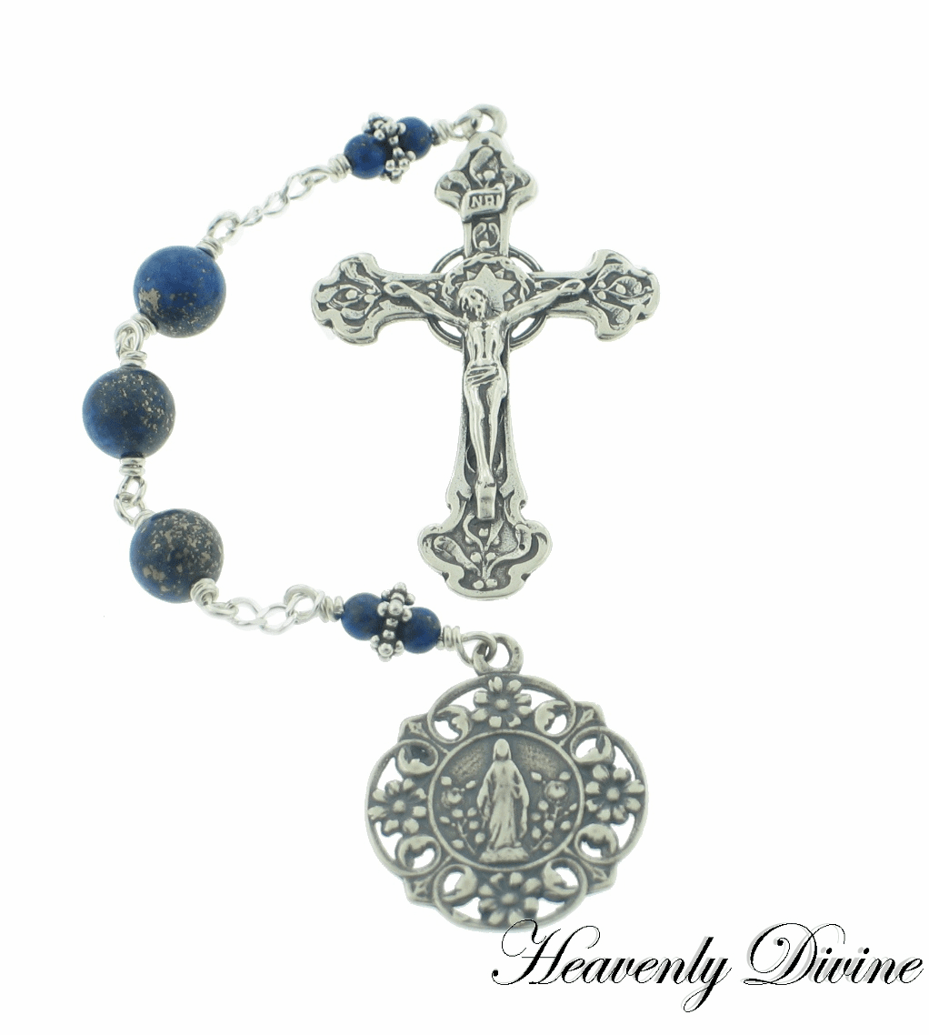 Handmade Sterling Silver Three Hail Mary Devotion Chaplet by Heavenly Divine