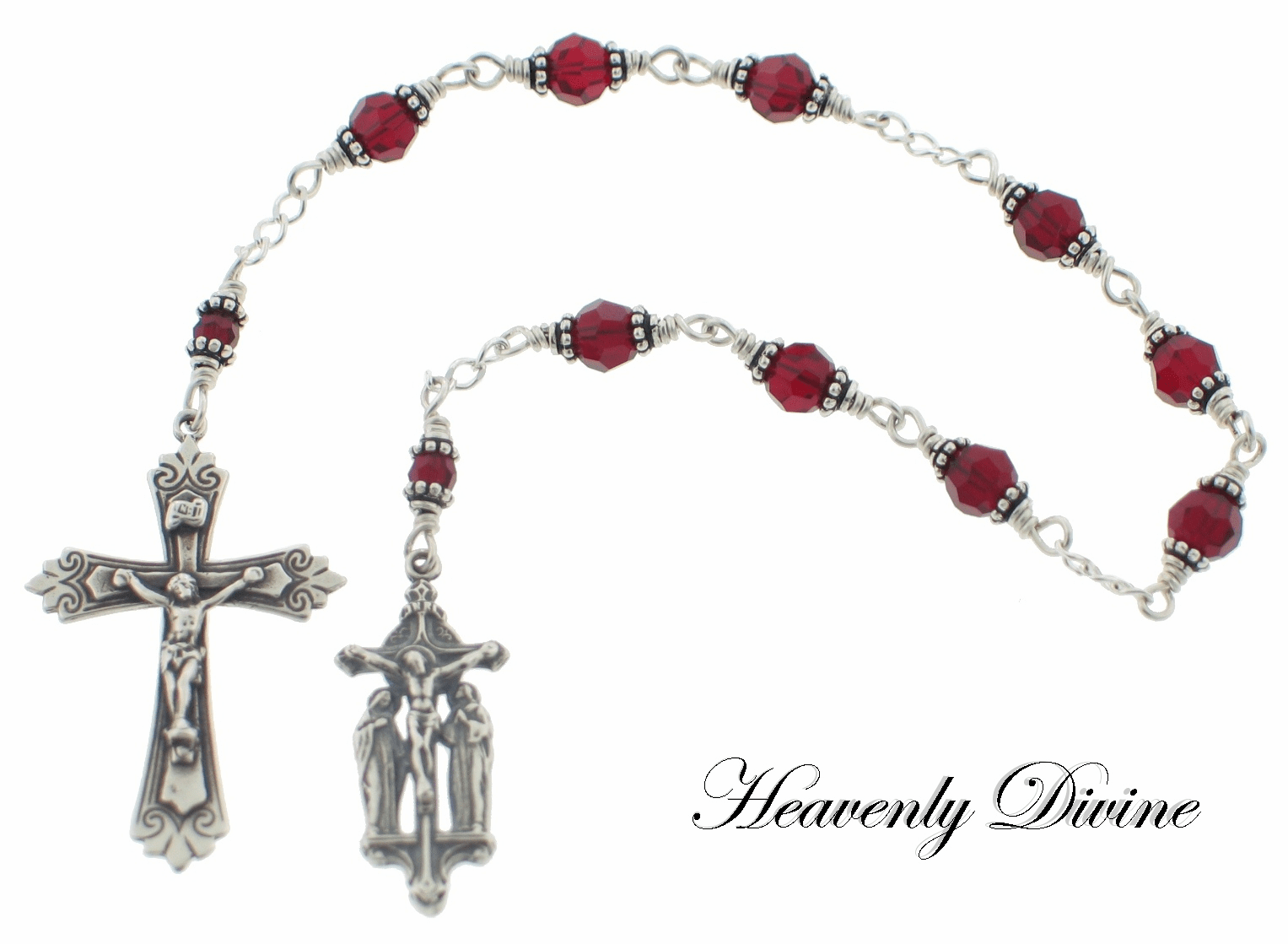 Handmade Swarovski Crystal Wire-Wrapped the Chaplet of the Crucifixion by Heavenly Divine