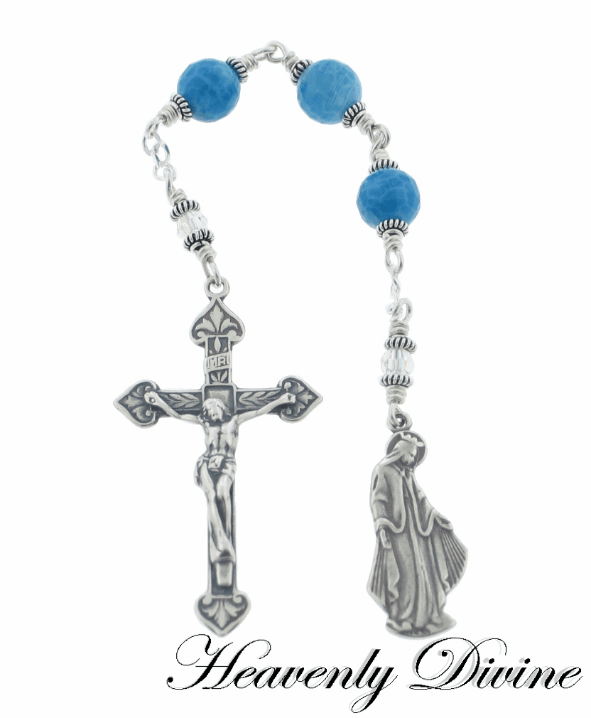 Heavenly Divine Sterling Silver Three Hail Mary Blue Fire Agate Chaplet