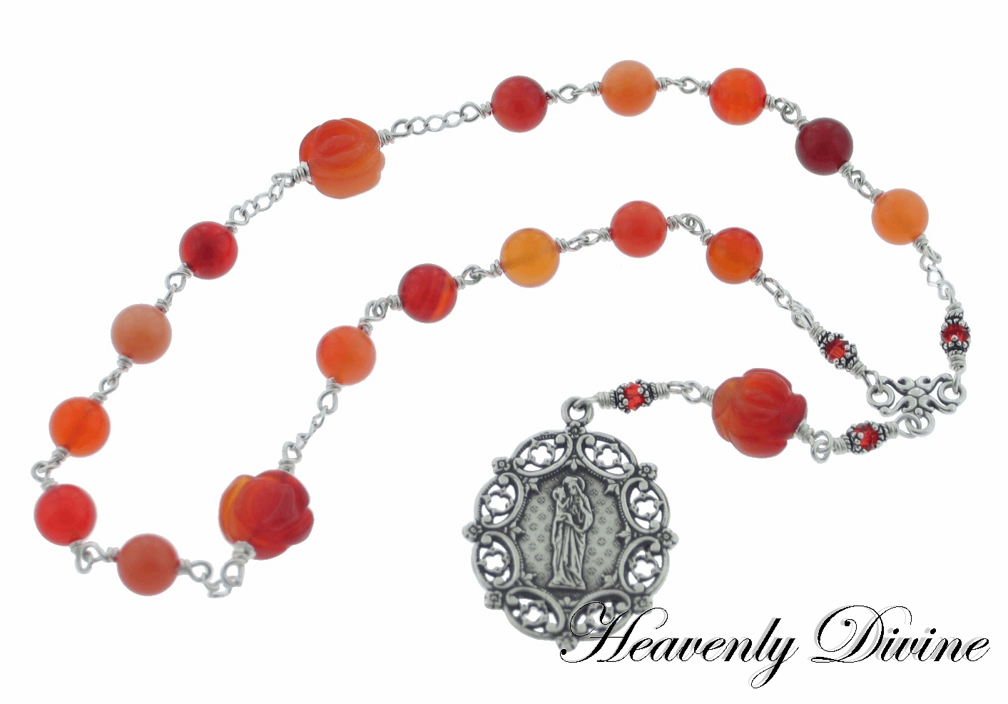 Handmade Wire-Wrapped Carnelian & Agate Sterling St Anne Chaplet by Heavenly Divine