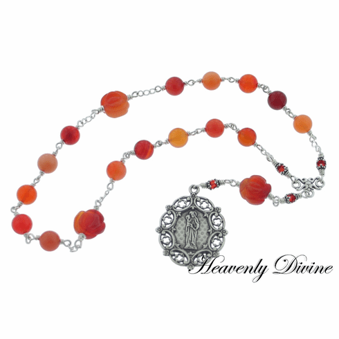 Heavenly Divine Wire-Wrapped Carnelian/Agate Sterling St Anne Chaplet