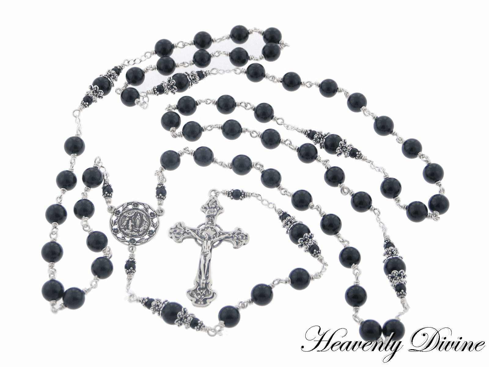 Handmade Wire Wrapped Our Lady of Lourdes Rosary by Heavenly Divine