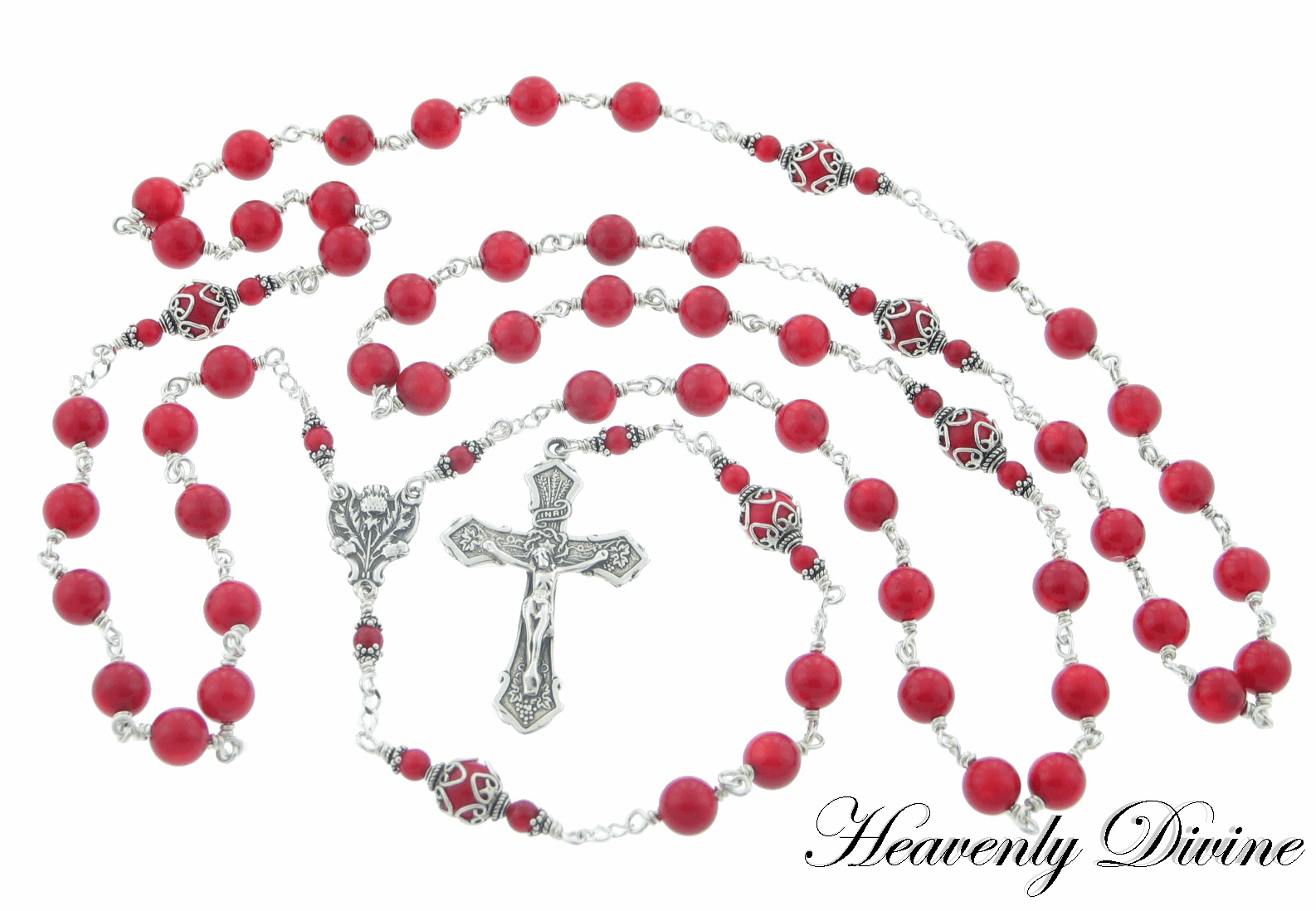 Handmade Wire Wrapped Red Coral Rosary by Heavenly Divine