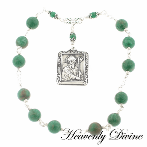 Handmade Wire-Wrapped Saint Patrick Chaplet by Heavenly Divine